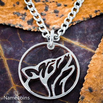 Howling Tribal Wolf Necklace, Hand cut quarter by Namecoins