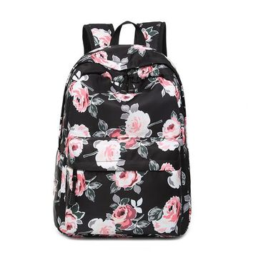 """School Backpack Water Resistant Stylish Casual Flower Backpack Fit for 15.6"""" Laptop Peonies Floral Pattern Print  for Teen Girls AT_48_3"""