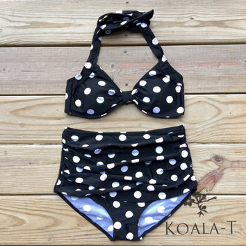 Retro Style Black White Polka Dots Halter Top & by KoalaTFashion