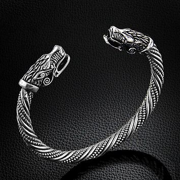Viking Arm Band of Loyalty Wolf Head Bracelet Tribal Jewelry - Exotic Viking Collector's Piece