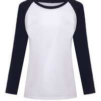 Fall Korean Style New Women T-shirt Sweatshirt Raglan Loose Patchwork Full Sleeve Moleton Tops Femininos Plus Size M-XXL