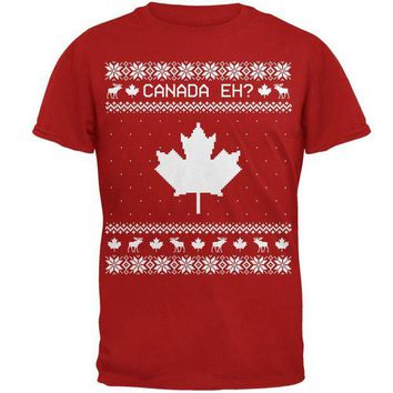 ONETOW Canadian Canada Eh Ugly Christmas Sweater Mens Soft T Shirt