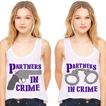 White Cropped Tank Top - Partners In Crime - Best Friend Summer Outfit Beach Tank Bestie Duo