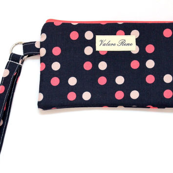 iPhone 6+ Wristlet - Navy Dot