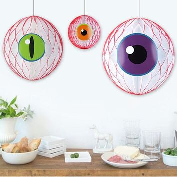 DKF4S Eye Got You! Super Spooky Halloween Honeycomb Eyeballs DIY Eyeball Balloons Fun Craft Creepy Eyeballs Halloween Party Decoration