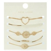 5 Pack Gold and Pearl Bracelets