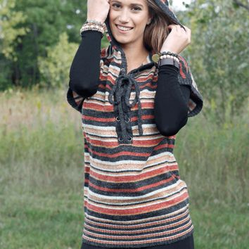 Striped Hooded Tunic Sleeveless Sweater - Gray