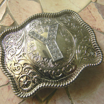 Monogram Letter Y Personalized Silver Belt Buckle, Rhinestone Initial Y Monogrammed Womens Mens Kids Western Belt Buckle, Custom Belt Buckle