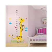 Naughty Monkey Yellow Giraffe wall decal for kid's bedroom Height Chart Nursery Wall Sticker