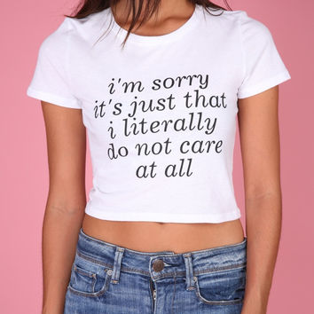 Literally Do Not Care White Graphic Crop Top