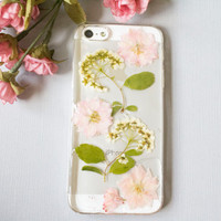 Pink Pressed Flower iPhone Case, Floral Clear iPhone Case, Pressed Flower Phone Case, Clear Phone Case, iPhone 5 5s 6 6 plus, Galaxy S5 S4