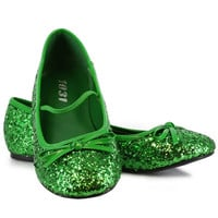Green Sparkle Flat Shoes Child