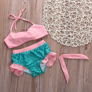 Lovely Baby Girls Little Mermaid Princess bathing Bikini Set Swimwear Swimsuit