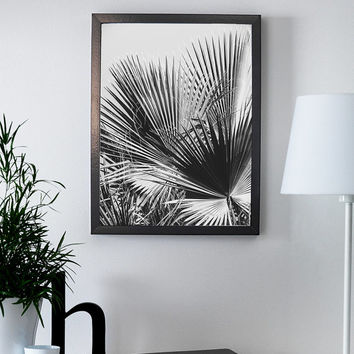 Tropical leaves illustration. Black and white leaves. Nature poster. Printable palm tree poster.  Tropical print. Tropic poster