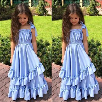 Blue Ruffles Girl Strap Princess Dresses Kids Sleeveless Party Pageant Ball Gown Dress Summer Tutu Tulle Maxi Beach Dress Outfit