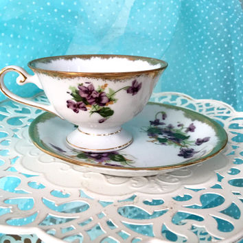Violets Tea Cup and Saucer, February Birthday Flower, Offset Tea Cup Set, Purple Teacup, Violets China, Shabby Chic Tea Cup, Birthday Gift