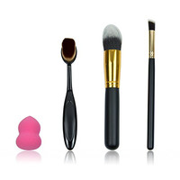 Naturebelle Proffessional Makeup Brush Set, Blender Kabuki Foundation Cosmetics Contour Eyeliner Face Powder Blush Concealer Oval Toothbrush Set+Free Flawless Cosmetic Sponge Puff 4 pcs Makeup Tools
