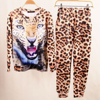 SIMPLE - 3D Lion Tiger Leopard Trendy Sweatshirt Shirt Top and Pants Set b4218