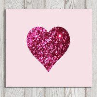 Pink hear print Pink Glitter heart SALE Art Nursery wall decor Printable heart Digital Valentines day card Heart background Home decor
