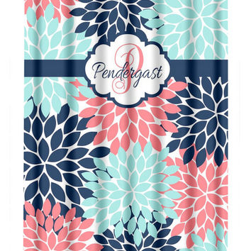 Coral Navy Aqua SHOWER CURTAIN, Flower Burst Petals, Custom MONOGRAM Personalized, Bathroom Decor, Beach Towel, Plush Bath Mat, Baby Blanket