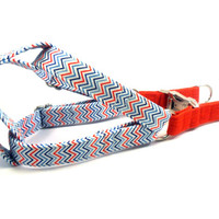 Dog Harness, CHEVRON BLUE RED, Handmade Dog Harness, Dog Step in Harness, Step in Dog Harness