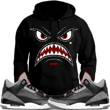 Jordan 3 Black Cement Sneaker Hoodie to Match - WARFACE