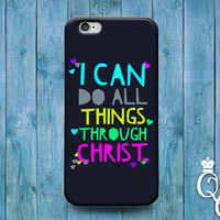 iPhone 4 4s 5 5s 5c 6 6s plus iPod Touch 4th 5th 6th Generation Cute Dark Blue Colorful Font Artistic Bible Quote Verse Christ Lord God Case