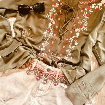 Lace Up Emboidered Boho Top