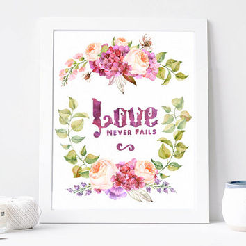 Love Never Fails Poster Print, Flower Wreath, Inspiration Quote, Motivation Poster, Romantic Card, Gift For Her, Wall Art Printable