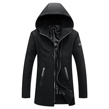 Men's Casual Hooded Long Sleeve Zipper Jacket for Spring and Fall