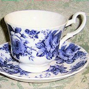 2 Blue Chintz English Bone China Teacups