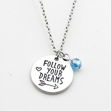 Follow Your Dreams Silver Charm Necklace