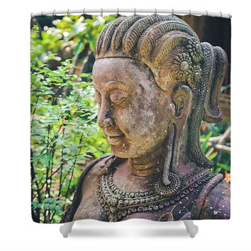 Beautiful Statue Thailand Polyester Fabric Shower Curtain