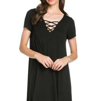 Lace Up A-Line Dress Black