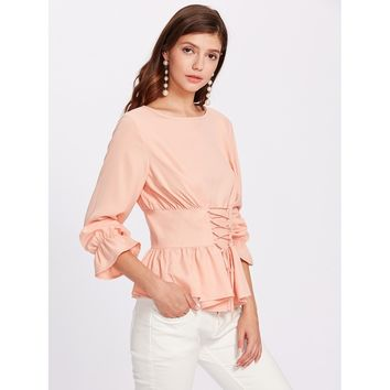 Bell Cuff Lace Up Peplum Top Pink
