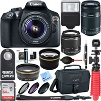 Canon EOS Rebel T6 Digital SLR Camera Wifi + 18-55mm & 55-250mm IS II Lens Kit + Accessory Bundle 64GB SDXC Memory + DSLR Photo Bag + Wide Angle Lens + 2x Telephoto Lens + Flash+Remote+Tripod - Walmart.com