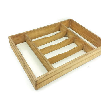 Distressed Wood Cutlery Tray or Display Case, Vintage Kitchen, Knick Knack Shelf, Display Case, Compartments,Collection Display,Wall Cabinet