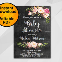 Editable Baby Shower Invitation, Watercolor Chalkboard Invitation, Instant Download diy etsy Baby Shower invitation XB002c-1