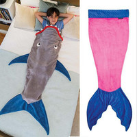 Mermaid Blanket Towel Envelopes For Kids Soft Animal Sleeping Bag Pajamas Overalls Children Quilt Velvet Shark Blanket