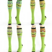 Teenage Mutant Ninja Turtles Striped Green Knee High Socks - Teenage Mutant Ninja Turtles - | TV Store Online