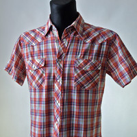 Vintage Men's 60's/70's Western Plaid Shirt Palermo Red Blue White Yellow size L