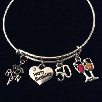 Happy 50th Birthday RN Nurse Expandable Silver Charm Bracelet Adjustable Bangle Gift Crystal Red and White Wine Glass
