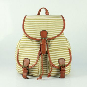 Cute Sweet Striped Travelling Bag College School Bag Canvas Backpack Daypack