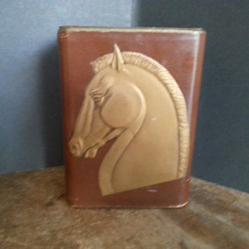 Vintage Bookends Horse Leather Brown Gold Gilt Stallion Design, Art Deco Home Decor, 1930's 1940's