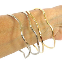 Bohemian bangle set, 2 free form tribal cuff cuff bracelets, gift under 30