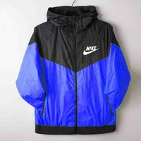 """NIKE"" Windbreaker Zipper Women Men Coat Jacket Contrast Cardigan Blue"