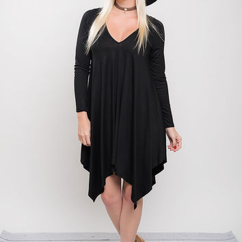 Handkerchief Mini Dress - Black