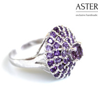 Statement Ring, Purple ring, Amethyst ring, Fashion ring, Cocktail ring, Unique ring, Purple Silver ring