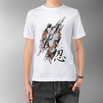 White Flower Ninja with Knife Katana Japanese Dark China Asian Traditional White 100% cotton T shirt t-shirt tee Digital Print