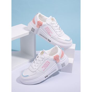 Letter Graphic Lace-up Front Sneakers